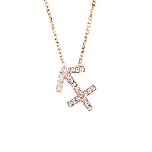 Zodiac Star Sign Pendant Necklace Rose Gold Sagittarius