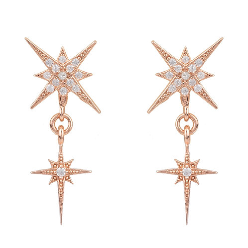 Star Burst Double Drops Earrings Rosegold