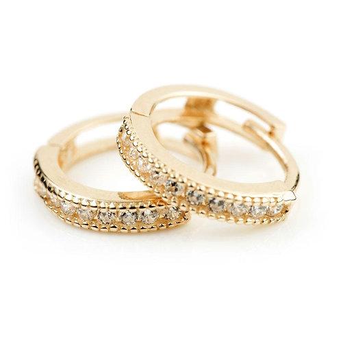 9ct Gold Slim Channel Crystal 10mm Huggie Earring