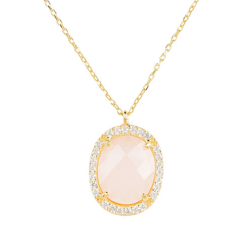Beatrice Oval Gemstone Pendant Necklace Gold Rose Quartz