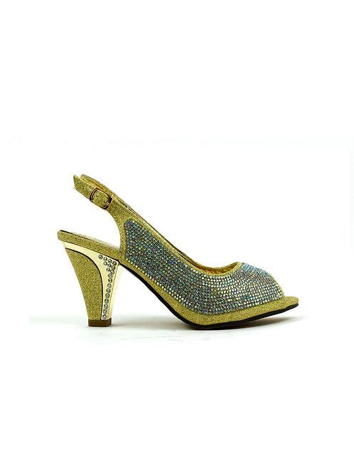 Classic Mid Heel Stone Sandal Gold
