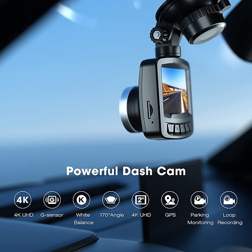 """4K Dash Cam for Cars with GPS, 2"""" LCD UHD 2160P Car Camera Vehicle Driving Reco"""