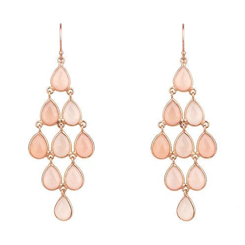 Erviola Gemstone Cascade Earring Rose Gold Rose Quartz