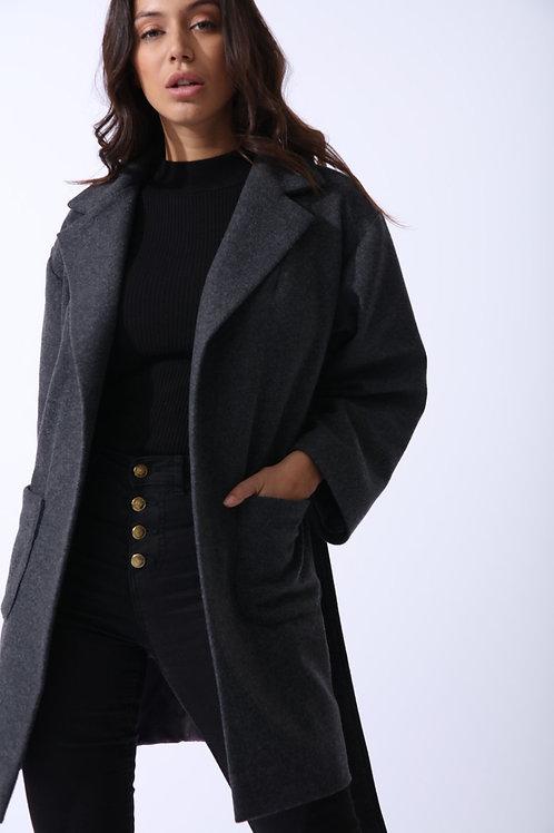 Wool Boyfriend Coat in Grey