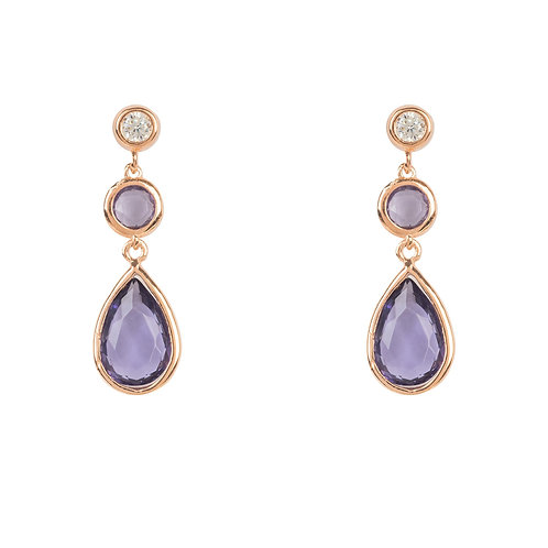 Tuscany Gemstone Drop Earring Rose Gold Amethyst