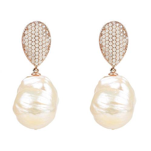 Baroque Pearl Classic  Drop Earrings Rosegold