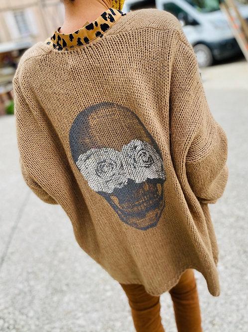 Gilet skull beige