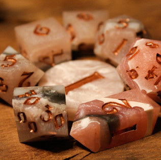 The Rhodochrosite dice set
