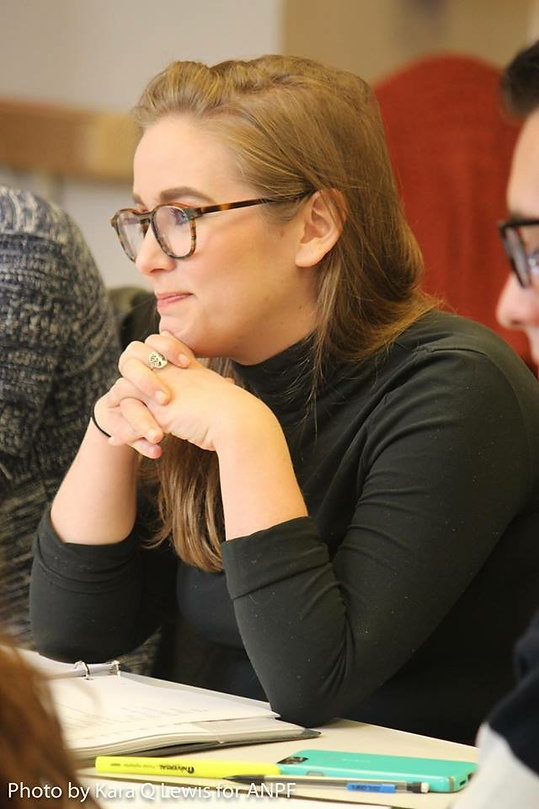 Martha Thatcher at a table read for Ashland New Plays Festival and Curious Theatre Company of Denver, CO