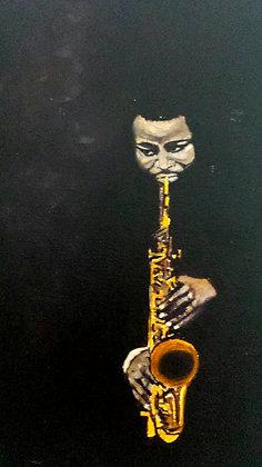 Saxofonista na penumbra