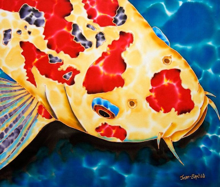 Jean-Baptiste Silk Painting of a koi fish