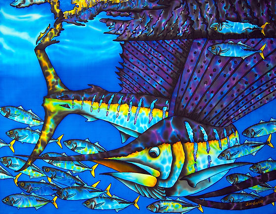Jean-Baptiste Batik Silk Painting of a SAILFISH