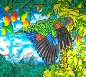 Jean-Baptiste Silk Painting of a St. Lucia parrot.
