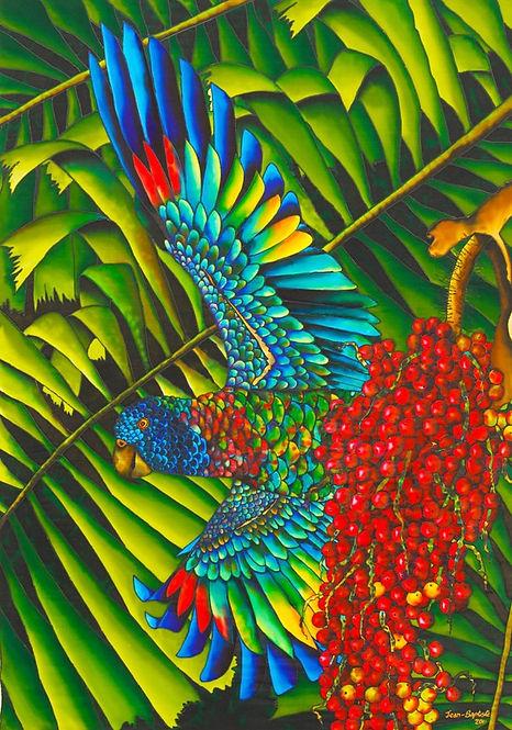 Jean-Baptiste Silk Painting of an amazon parrot