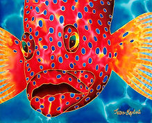 Jean-Baptiste Hand Painted silk of a grouper fish