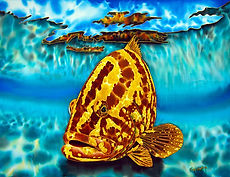 Grouper silk painting