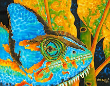 Jean-Baptiste Hand Painted silk of a chameleon