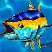 Jean-Baptiste Hand Painted silk a tuna fish.