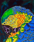 Jean-Baptiste Hand Painted silk of a macaw parrot