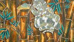 Jean-Baptiste silk painting of an emerald snake