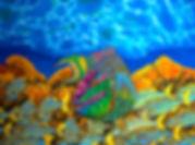 Jean-Baptiste  silk painting of a parrotfish.