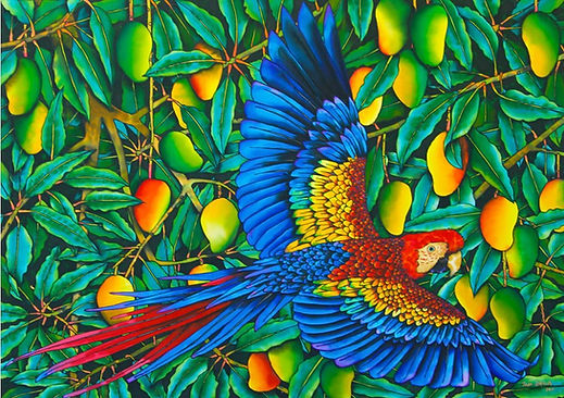 Jean-Baptiste Silk Painting of a scarlet macaw