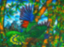 St. Lucia Parrot painted on silk | Jean-Baptiste Art