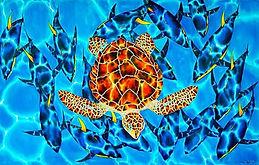 Jean-Baptiste silk painting of a sea turtle & tuna