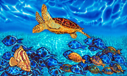 Jean-Baptiste Silk Painting of a sea turtle & fish