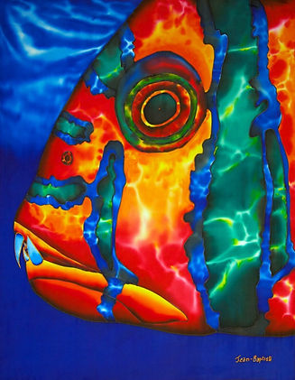 Jean-Baptiste silk painting of a reef fish