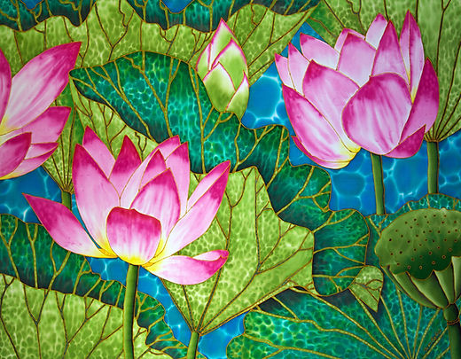 Jean-Baptiste.com Silk Painting of lotus flowers