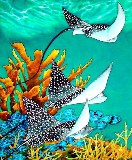 Jean-Baptiste Silk Painting of a eagle rays
