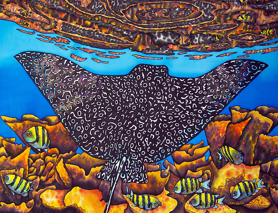 Jean-Baptiste Batik Silk Painting of an Eagle ray