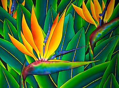 Jean-Baptiste silk painting of  bird of paradise  flowers