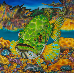 Jean-Baptiste Silk Painting of a largemouth bass.