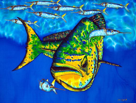 Jean-Baptiste  silk painting of a mahi mahi fish