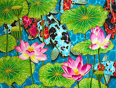 Jean-Baptiste silk painting of koi & lotus flowers