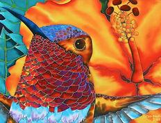 Jean-Baptiste Hand Painted silk of a hummingbird