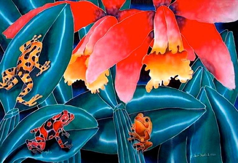 Jean-Baptiste Silk Painting of treefrogs