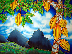Jean-Baptiste silk painting of a st. lucia landscape
