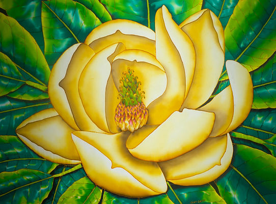 Jean-Baptiste.com Silk Painting of bird of a magnolia flower