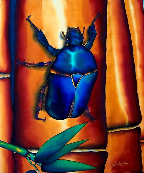 Jean-Baptiste Silk Painting of a flower beetle