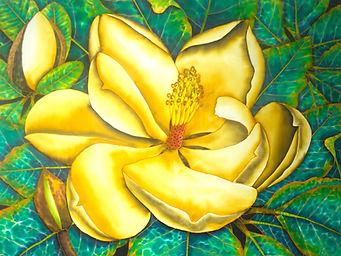 Jean-Baptiste Silk Painting of a Magnolia flower.