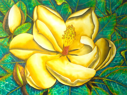 Jean-Baptiste.com Silk Painting of bird of paradise flower