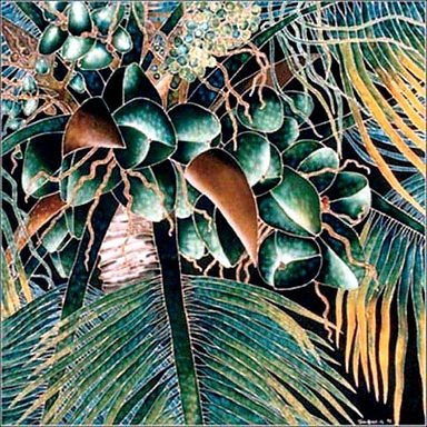 Jean-Baptiste Silk Painting of coconuts