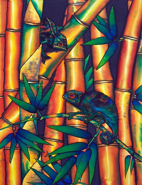 Jean-Baptiste Silk Painting of chameleon