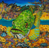 Jean-Baptiste silk painting of a bigmouth bass.