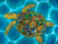 Jean-Baptiste Silk Painting of an opal sea turtle