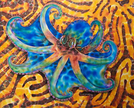 Jean-Baptiste silk painting of an octopus