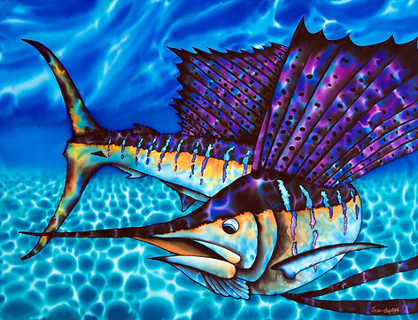 Jean-Baptiste.com Silk Painting of a blue marlin & tuna